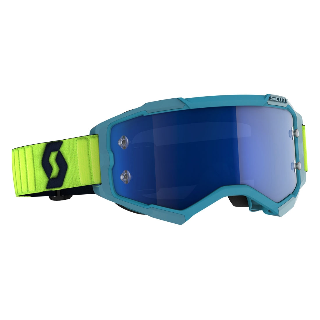 Occhiali (maschera) cross 2020 Scott FURY teal blue neon yellow lente electric blue chrome 1