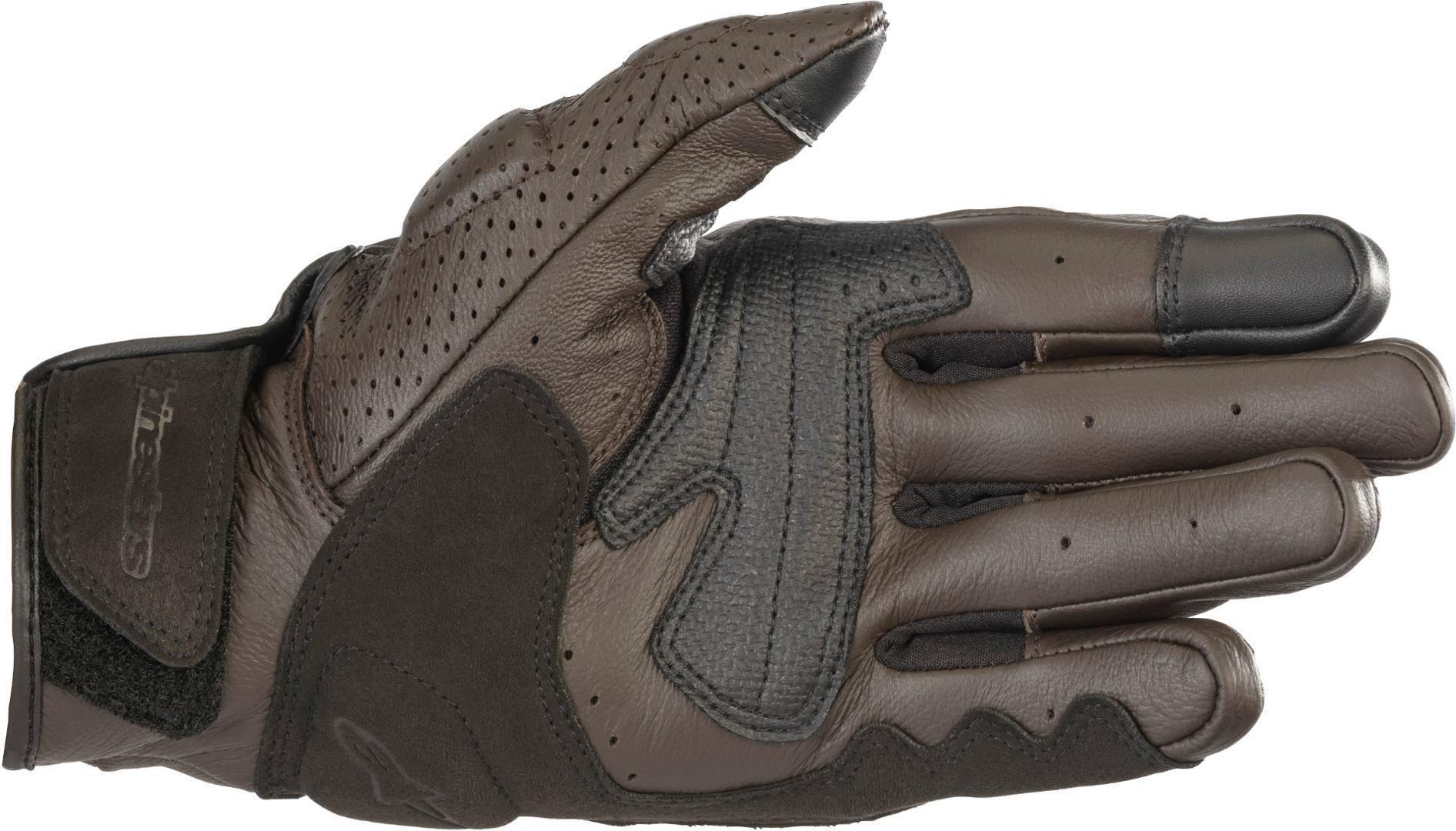 Guanti moto in pelle con protezioni Alpinestars MUSTANG V2 marrone 2