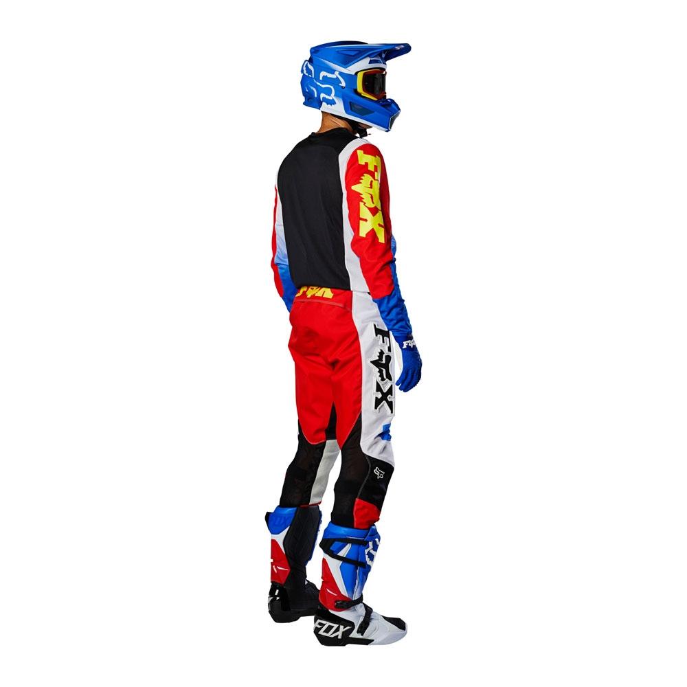 Completo cross enduro Fox 360 LINC Blue Red 2020 pantaloni+maglia 2