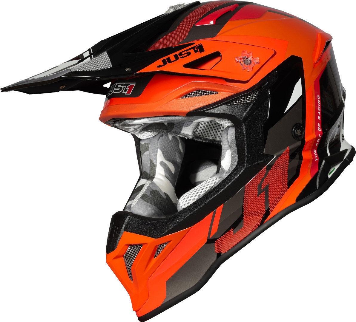 Casco Just1 cross enduro J39 REACTOR Fluo Orange Black Gloss 1