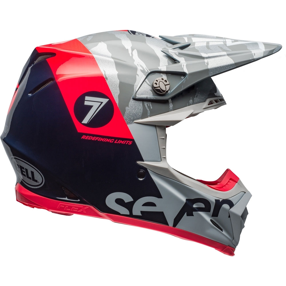 Casco cross Bell Moto 9 Flex Carbon Seven Zone Navy Corall 1