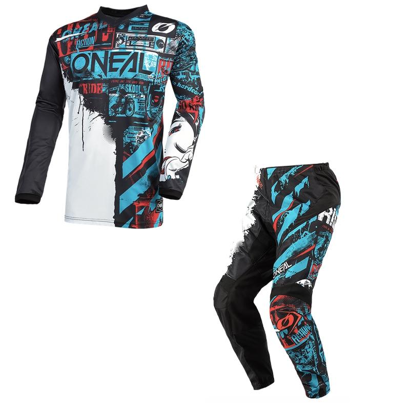 Completo cross O'Neal ELEMENT RIDE 2021 black blue maglia+pantaloni 1