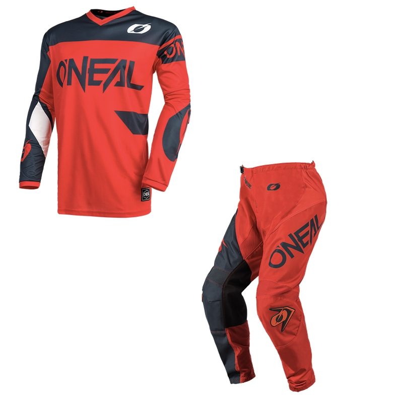 Completo cross O'Neal ELEMENT RACEWEAR 2021 rosso grigio maglia+pantaloni 1