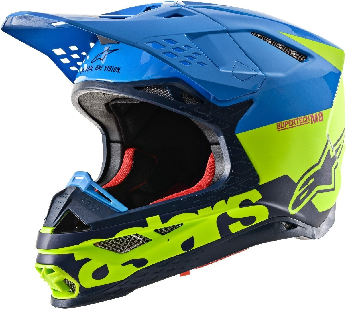 Casco cross Alpinestars Supertech S-M8 RADIUM Aqua Yellow flow Navy M&G 1