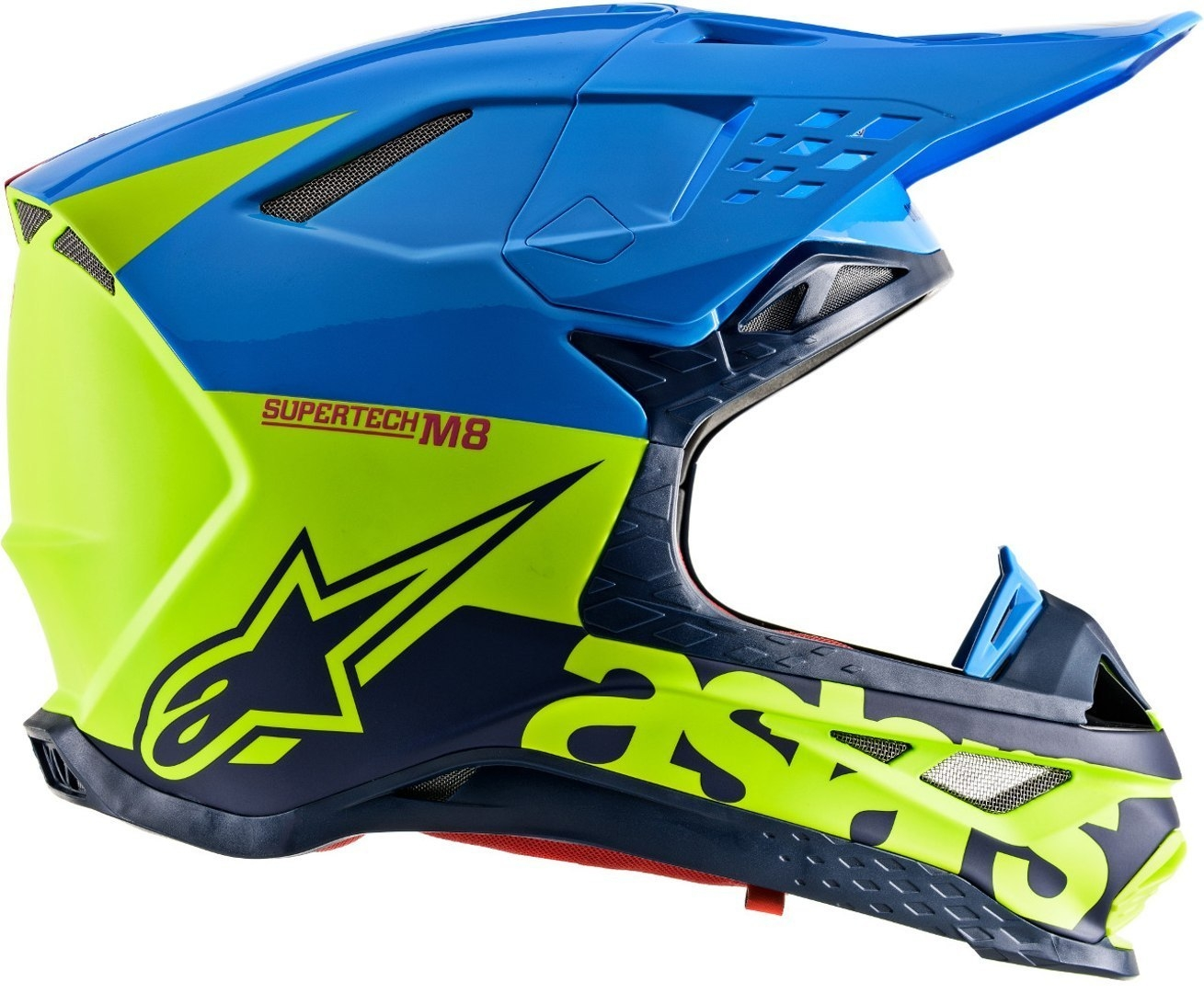 Casco cross Alpinestars Supertech S-M8 RADIUM Aqua Yellow flow Navy M&G 2