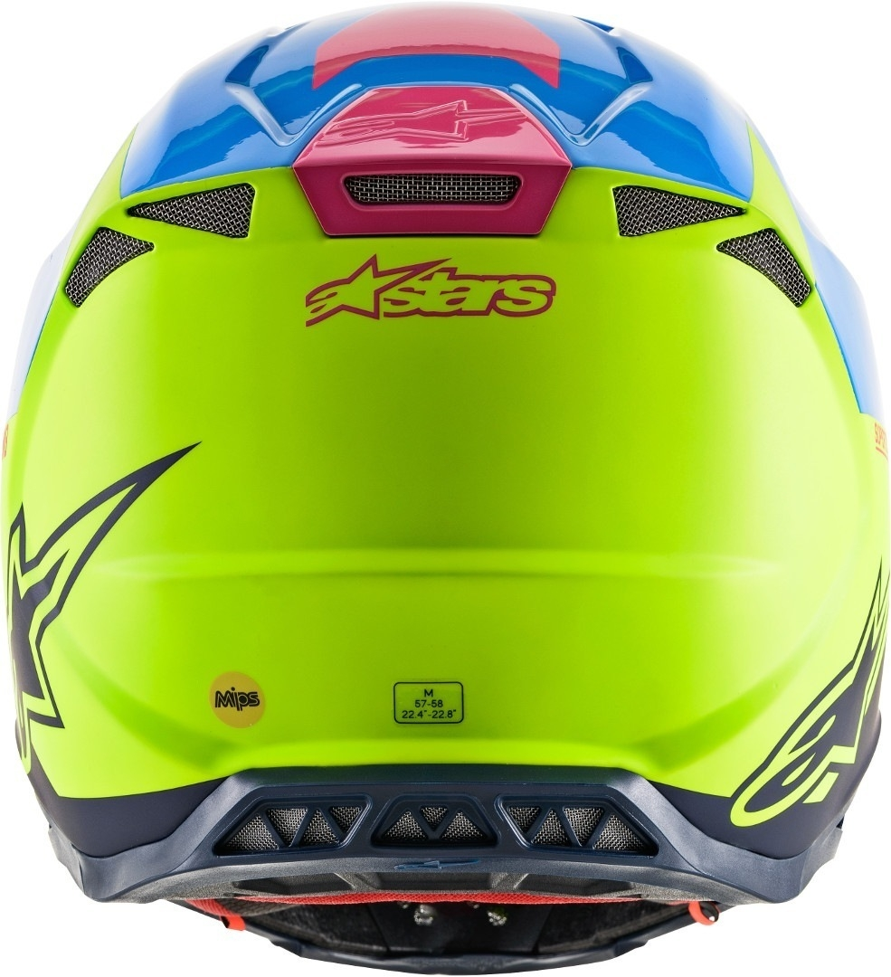 Casco cross Alpinestars Supertech S-M8 RADIUM Aqua Yellow flow Navy M&G 3