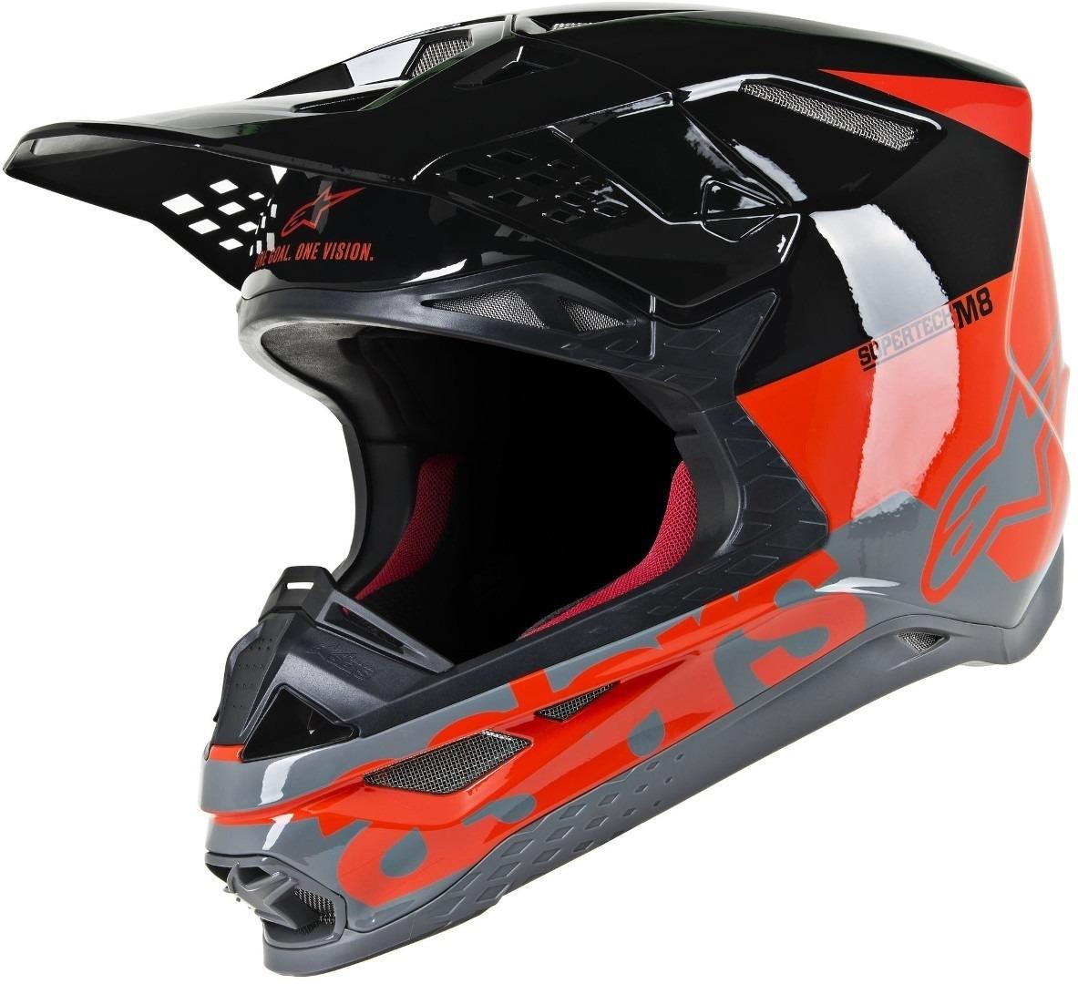 Casco cross Alpinestars Supertech S-M8 RADIUM Red Fluo Black mid Gray Glossy 1