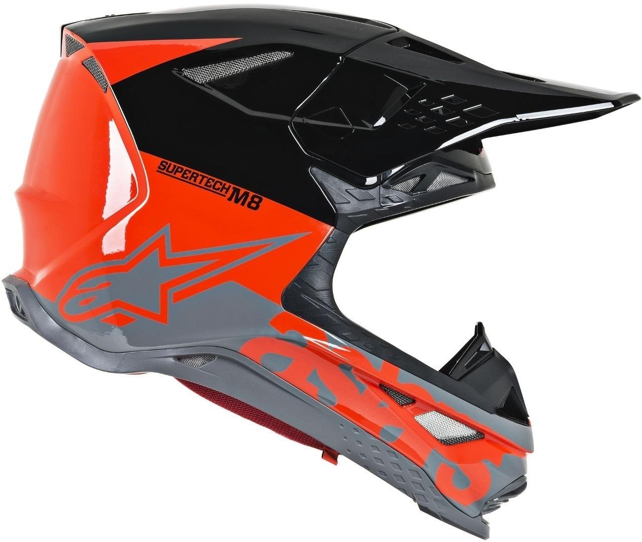 Casco cross Alpinestars Supertech S-M8 RADIUM Red Fluo Black mid Gray Glossy 2