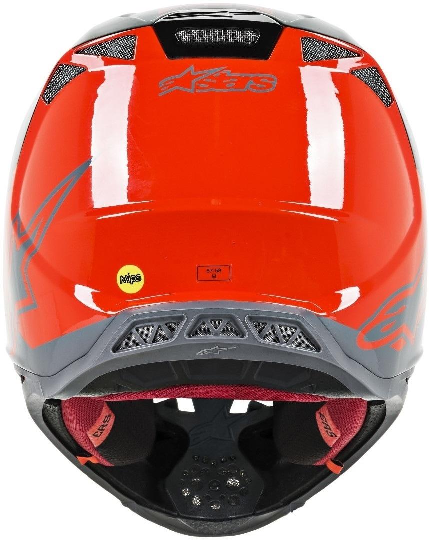 Casco cross Alpinestars Supertech S-M8 RADIUM Red Fluo Black mid Gray Glossy 3