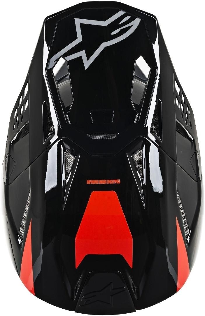 Casco cross Alpinestars Supertech S-M8 RADIUM Red Fluo Black mid Gray Glossy 4