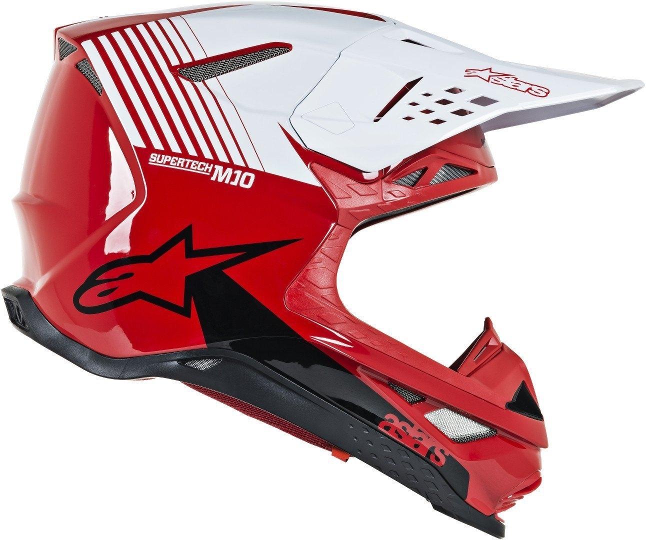 Casco cross alpinestars SUPERTECH S-M10 DYNO Red White Glossy 2