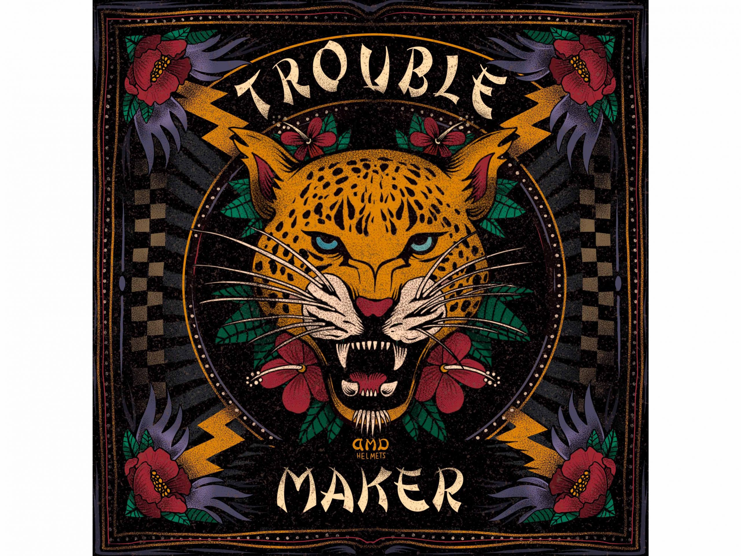 Foulard vintage seta e cotone DMD Trouble Maker 2
