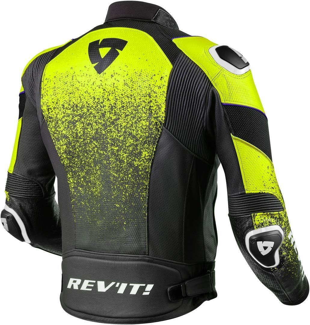 Giubbino moto pelle traforato Rev'it QUANTUM AIR Nero Giallo Fluo 2