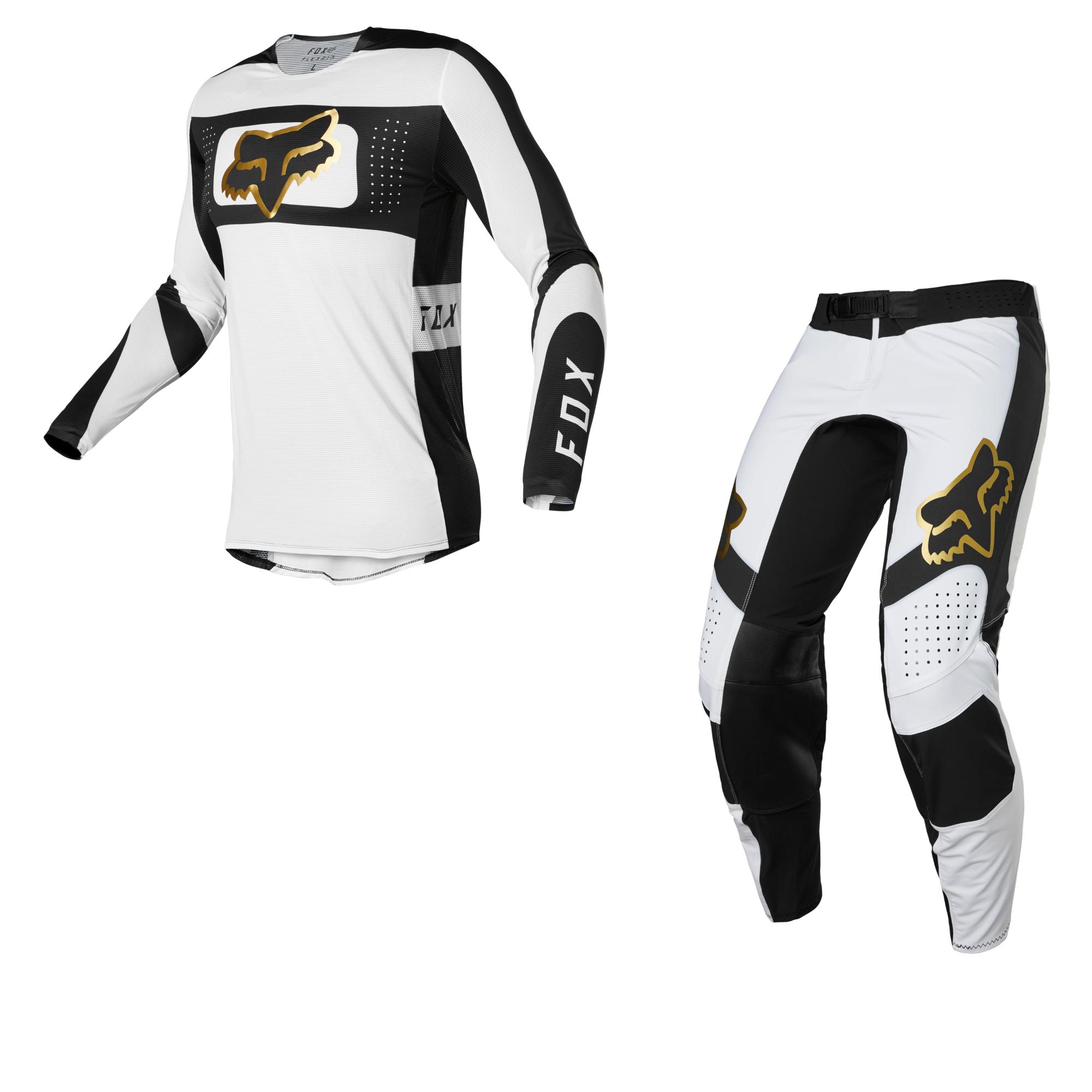 Completo cross enduro Fox FLEXAIR MIRER white black 2022 pantaloni+maglia 1