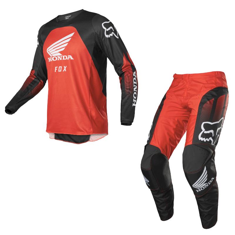 Completo cross enduro Fox 180 HONDA 2022 red black pantaloni+maglia 1