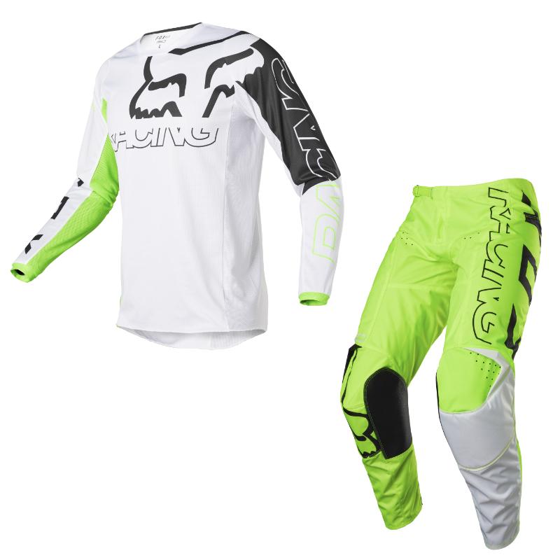 Completo cross enduro Fox 180 SKEW Fluorescent Yellow 2022 pantaloni+maglia 1