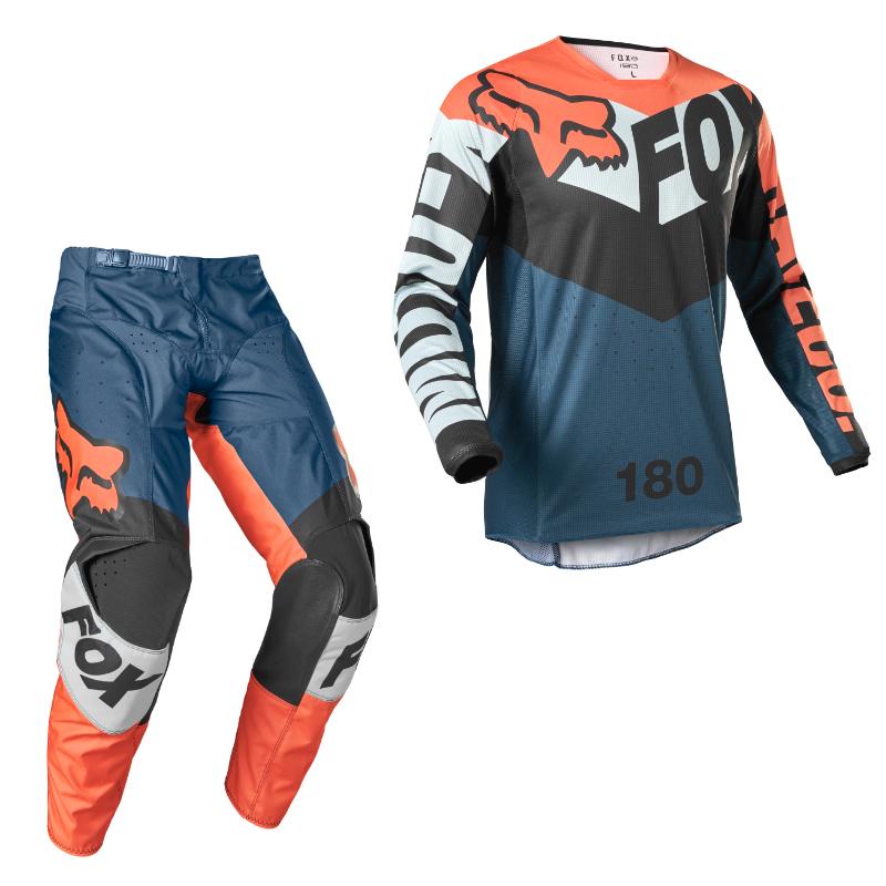Completo cross enduro Fox 180 TRICE Grey Orange 2022 pantaloni+maglia 1
