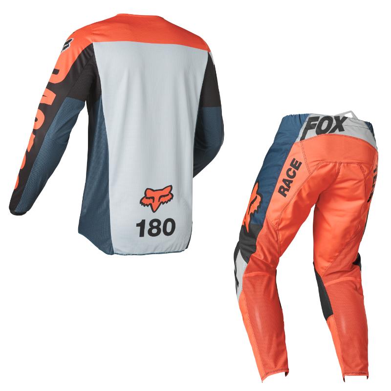 Completo cross enduro Fox 180 TRICE Grey Orange 2022 pantaloni+maglia 2