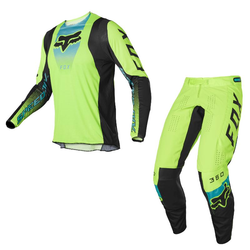 Completo cross enduro Fox 360 DIER Fluorescent Yellow 2022 pantaloni+maglia 1