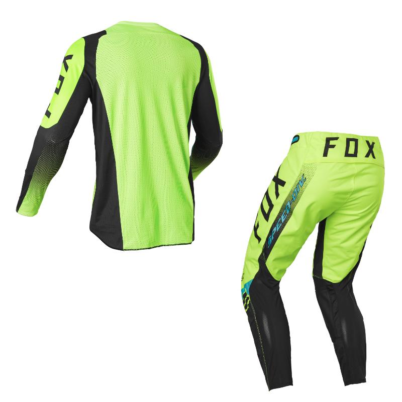 Completo cross enduro Fox 360 DIER Fluorescent Yellow 2022 pantaloni+maglia 2