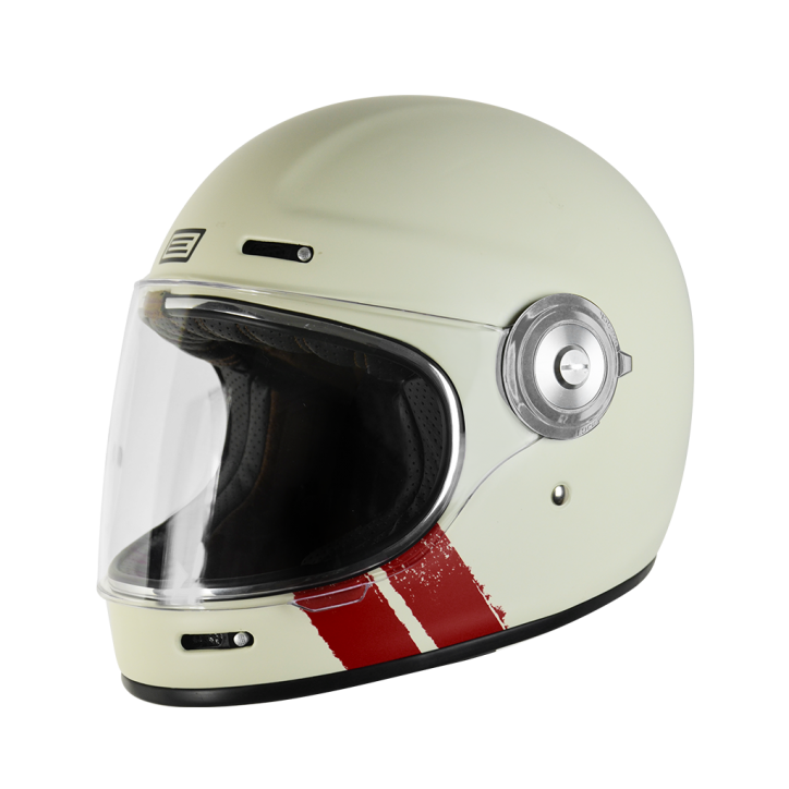 Casco VINTAGE integrale ORIGINE Vega Stripe Bianco Rosso 1