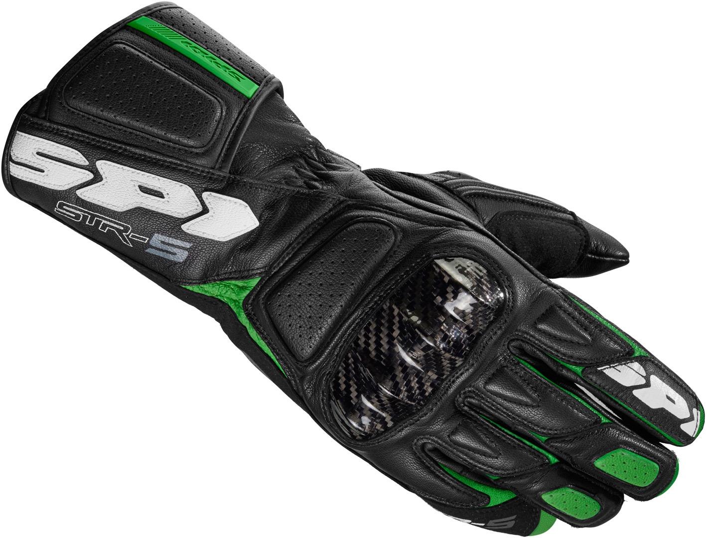 Guanti pelle moto con protezioni Spidi STR-5 Nero Verde 1