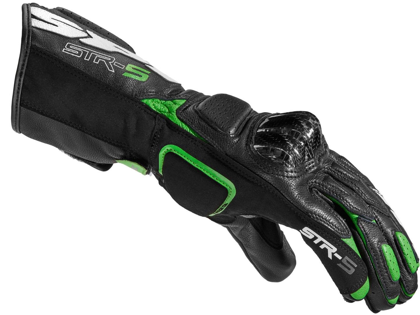 Guanti pelle moto con protezioni Spidi STR-5 Nero Verde 2