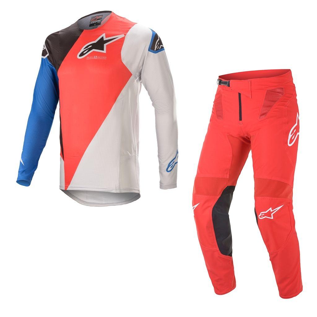 Completo cross Alpinestars SUPERTECH BLAZE Bright Red Blue 2021 pantaloni+maglia 1