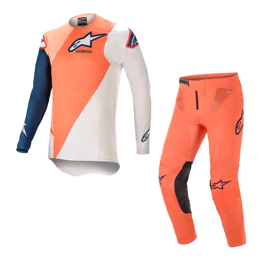 Completo cross Alpinestars SUPERTECH BLAZE Orange Dark Blue 2021 pantaloni+maglia 1