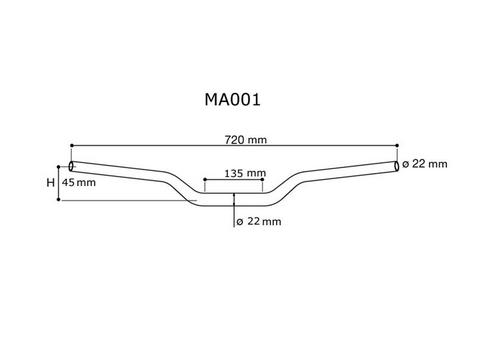 Manubrio Rizoma diametro 22 mm in Ergal MA001 2