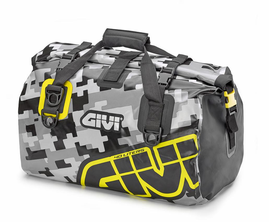 Borsa da sella a rullo waterproof Givi 40lt EA115CM camo grigio giallo fluo 1