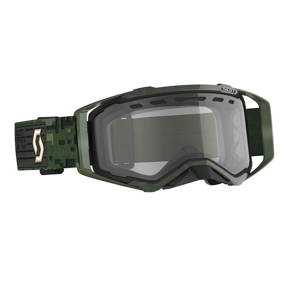 Occhiali (maschera) cross Scott PROSPECT ENDURO kaki green lente chiara doppia ventilata 1