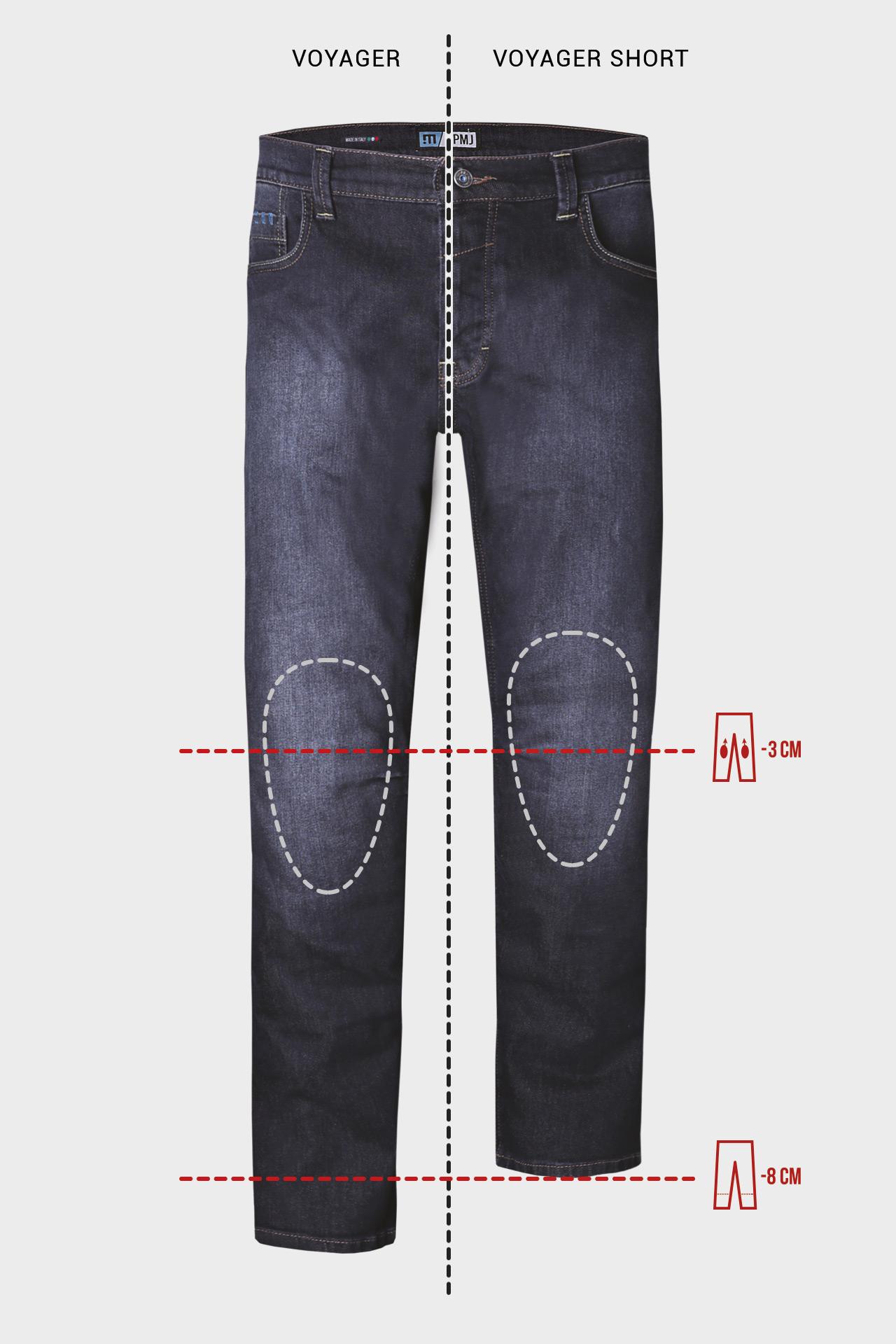 Jeans da moto con protezioni e Twaron® PMJ VOYAGER SHORT Blu 3