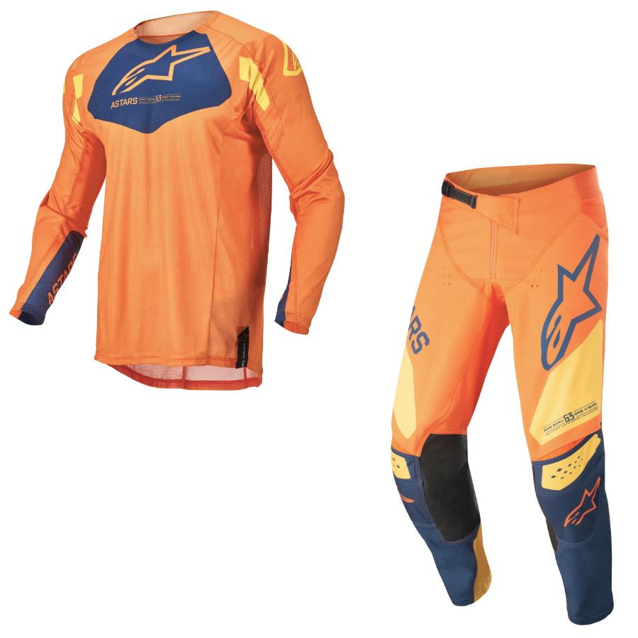 Completo cross bambino Alpinestars RACER FACTORY 2022 orange dark blue warm yellow pantaloni+maglia 1
