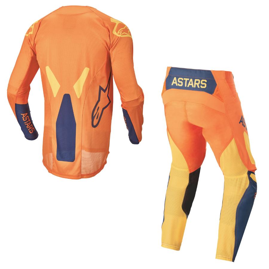 Completo cross bambino Alpinestars RACER FACTORY 2022 orange dark blue warm yellow pantaloni+maglia 2
