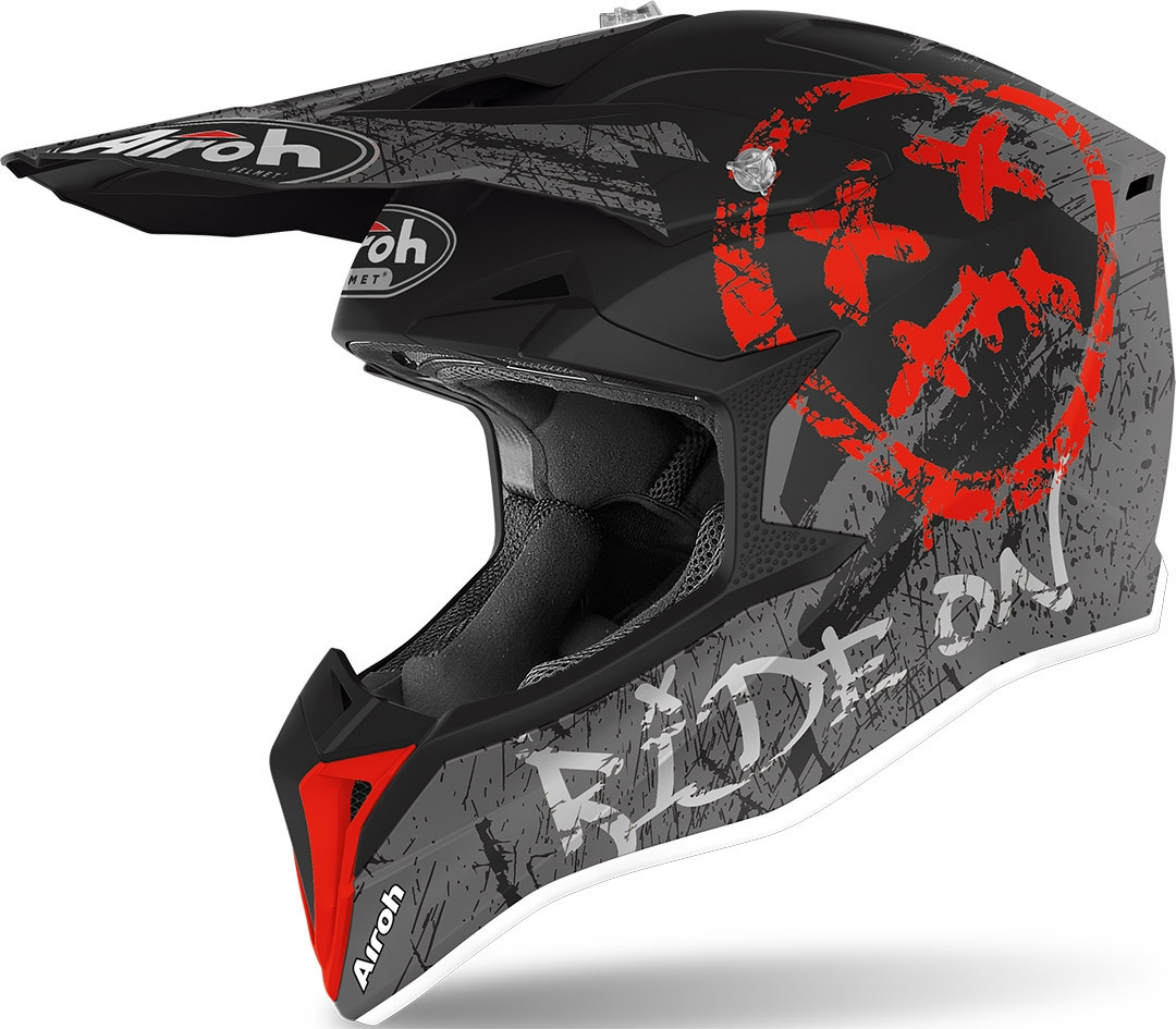 Casco Airoh cross enduro WRAAP SMILE RED Matt 1