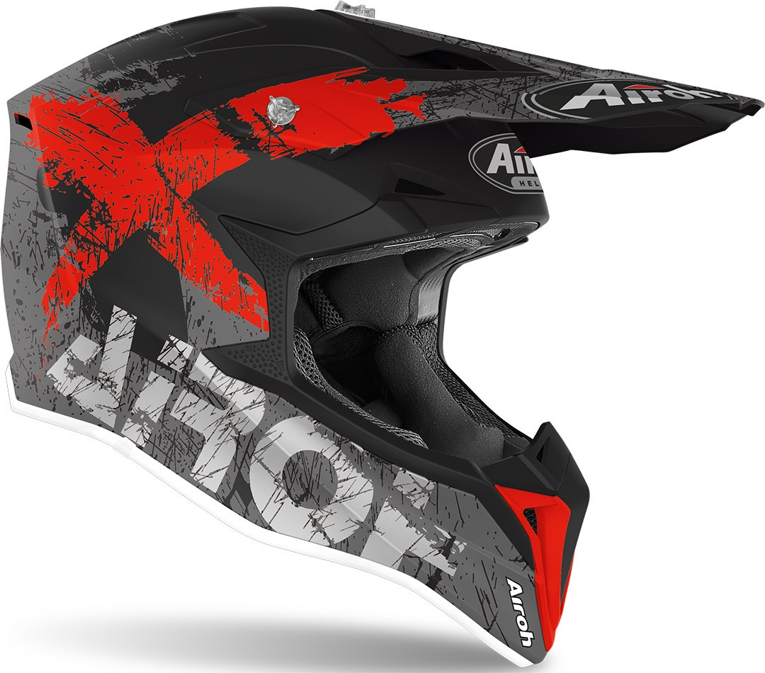 Casco Airoh cross enduro WRAAP SMILE RED Matt 2