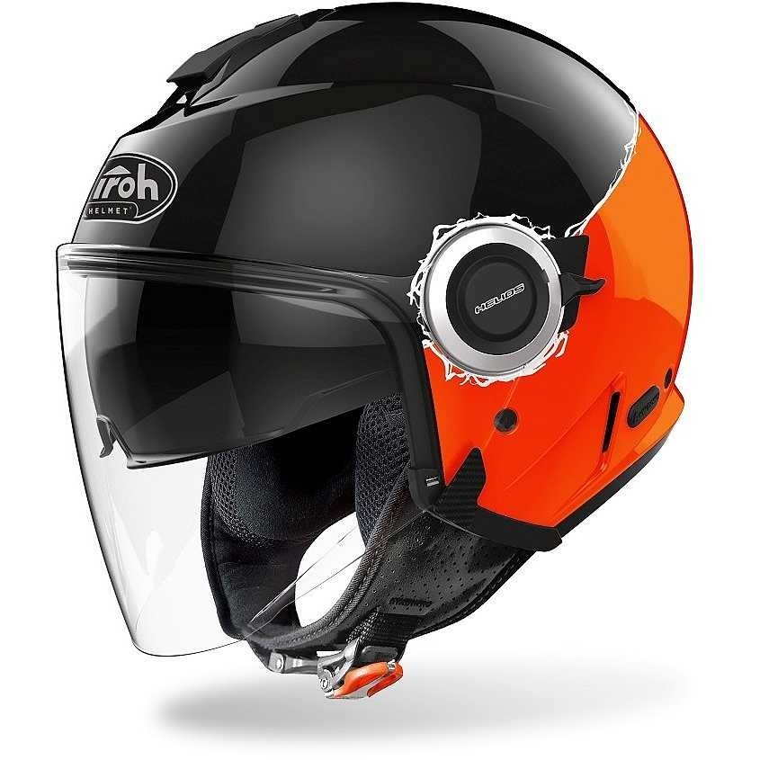 Casco jet Airoh HELIOS FLUO Black Orange Gloss 1