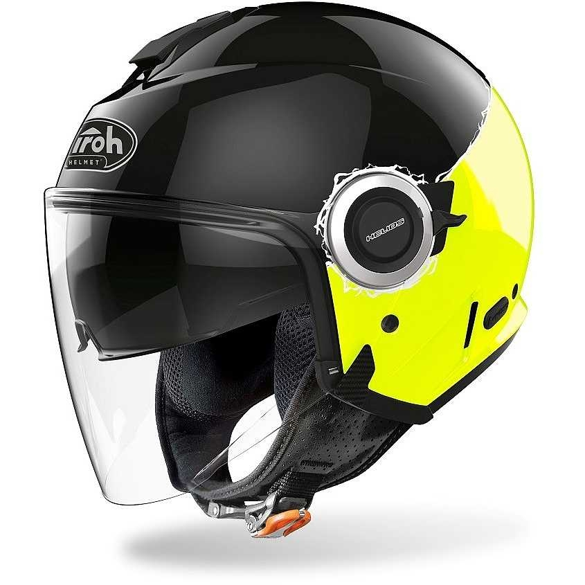 Casco jet Airoh HELIOS FLUO Black Yellow Gloss 1