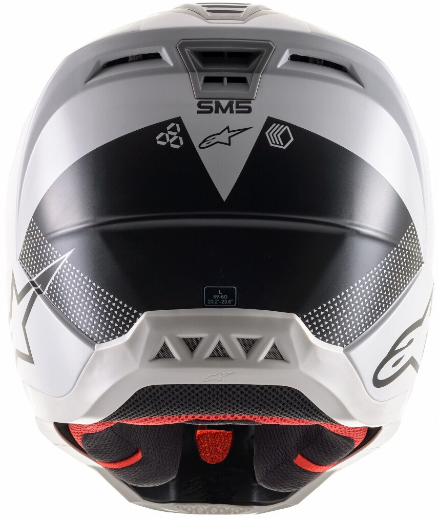 Casco cross Alpinestars S-M5 RAYON Light Grey Black Silver Matt 4