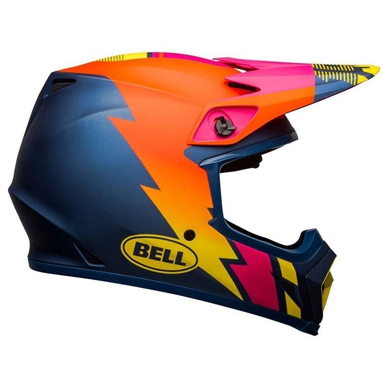 Casco Cross Bell Mx 9 mips Strike Matte Blue Orange Pink 1