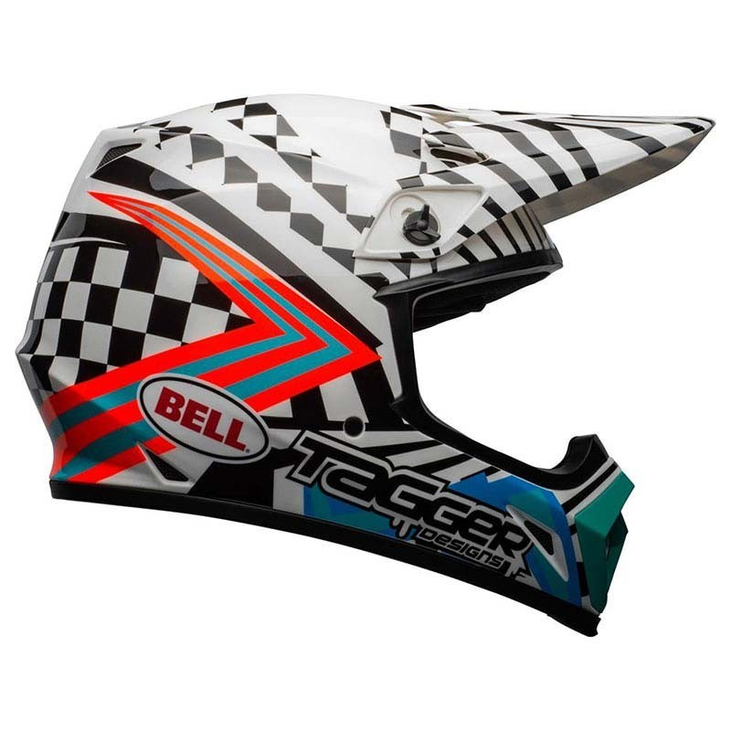 Casco Cross Bell Mx 9 mips Tagger Check me out Gloss White Black 1