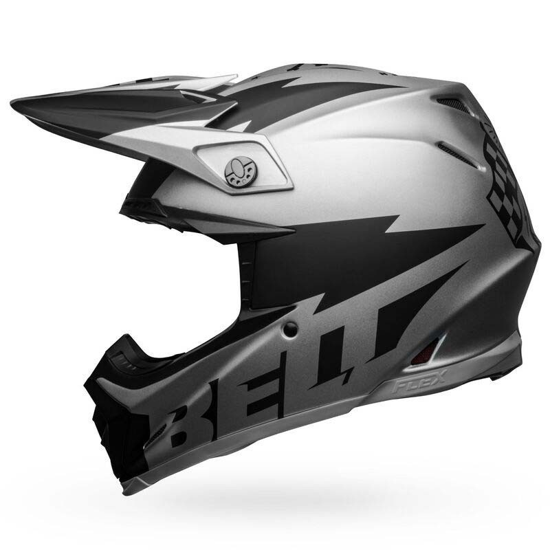 Casco cross Bell Moto 9 Flex Breakaway Matte Silver Black 2