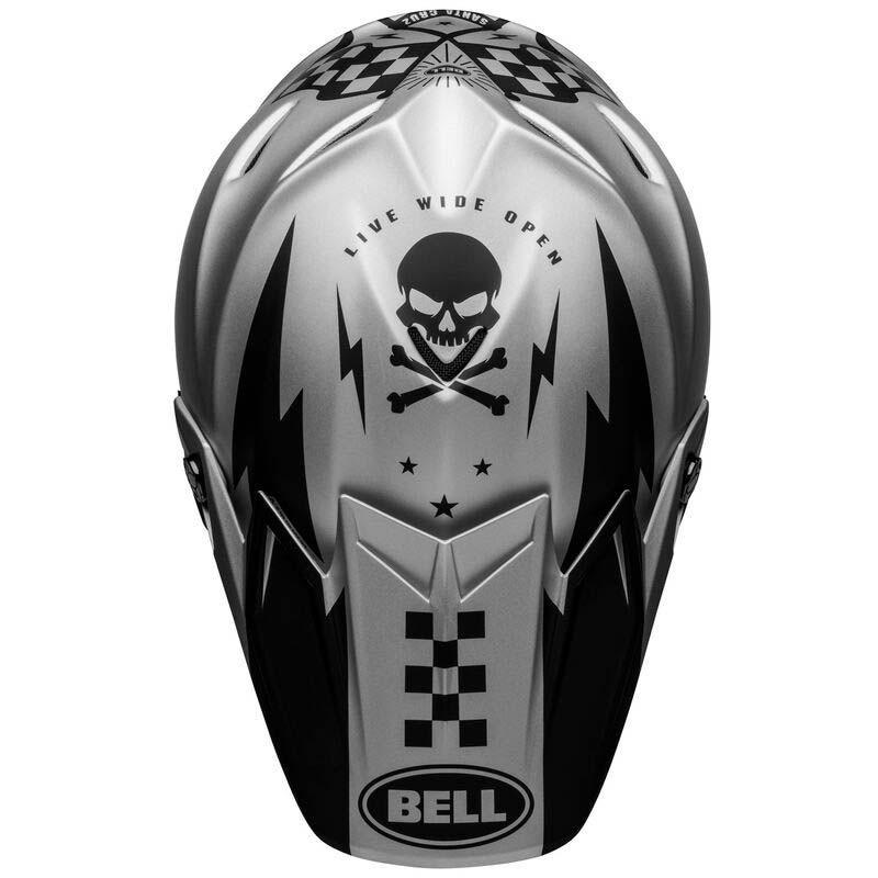 Casco cross Bell Moto 9 Flex Breakaway Matte Silver Black 3