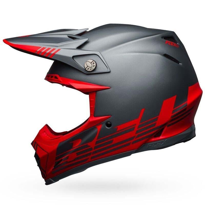 Casco cross Bell Moto 9 Flex Louver Matte Gray Red 1