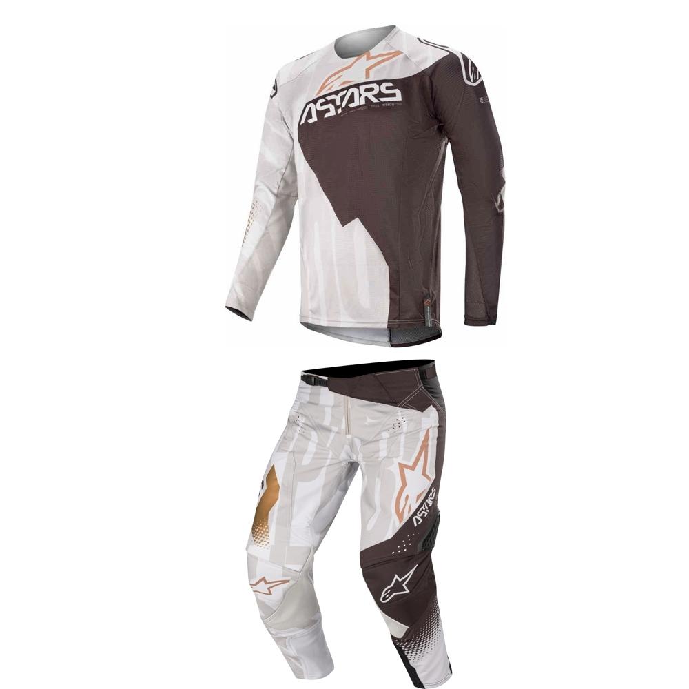 Completo cross enduro Alpinestars techstar factory metal grigio 2020 pantaloni+maglia 1