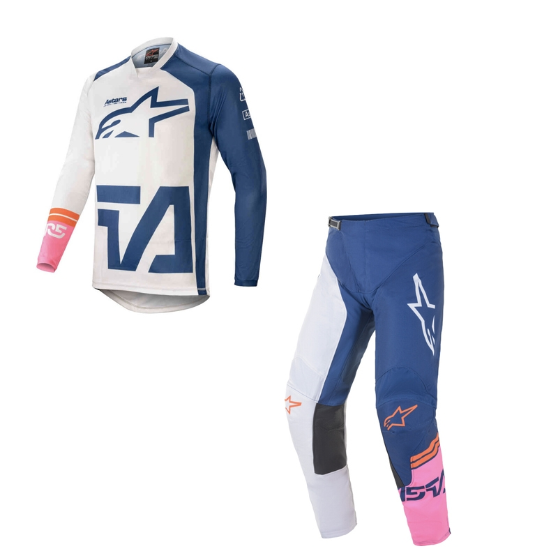 Completo cross Alpinestars RACER COMPASS off white navy pink fluo 2021 pantaloni+maglia 1
