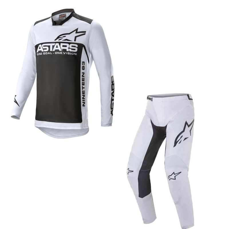 Completo cross Alpinestars RACER SUPERMATIC light gray black 2021 pantaloni+maglia 1