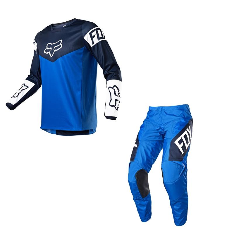Completo cross bambino Fox 180 REVN 2021 blue pantaloni+maglia 1