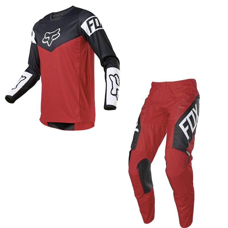Completo cross enduro Fox 180 REVN flame red 2021 pantaloni+maglia 1
